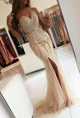Luxury Sweetheart Evening Dress UK Mermaid Front Split With Beadings BA9009_1