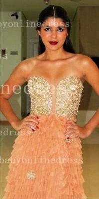Sweetheart Prom Dress UKes UK Evening Gowns Vestidos Pearls Ruffles Floor-length Orange Golden Shining_4