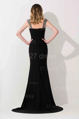 Modern Black Mermaid Chiffon Evening Dress UK Straps Crystals_2