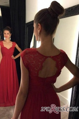 Red A-line Cap-Sleeves Modest Chiffon Lace Floor-Length Prom Dress UKes UK_2