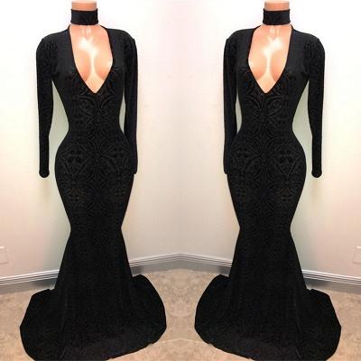 Black Lace V-Neck Prom Dress UK | Mermaid Long-Sleeve Evening Gowns BA8512_3