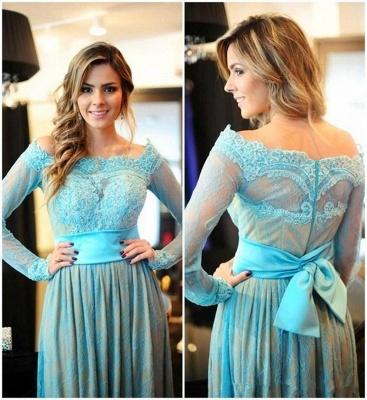 Delicate Lace Appliques Bowknot Evening Dress UK A-line Long Sleeve Zipper_4