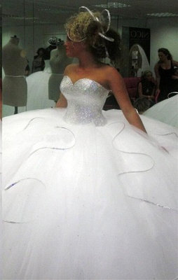 Stunning Sweetheart Ball Gown Wedding Dresses UK Sequins Tulle_1