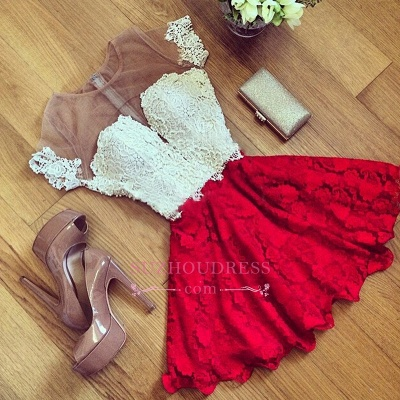 Cute Lace Short Illusion Short-Sleeve Homecoming Dress UK_1