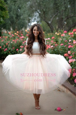 Lace Two-Pieces Tulle Cheap A-line Short-Sleeves Homecoming Dress_1
