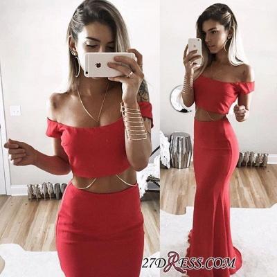 Elegant Mermaid Long Red Two-Piece Off-Shoulder Prom Dress UK SP0283_1