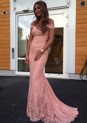 Gorgeous Off-the-Shoulder Mermaid Lace Evening Dress UK On Sale_1