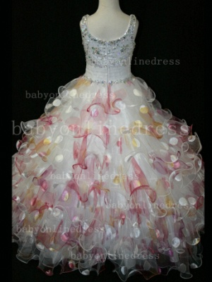 Floor-length Girls Pageant Dresses for Sale Inexpensive Colorful New Design Straps Beaded Gowns_3