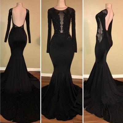 Elegant Black Mermaid Prom Dress UK Long Sleeve With Lace Appliques BA7880_3
