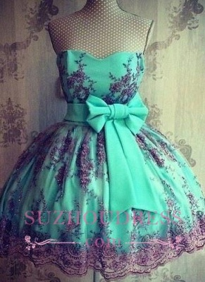 Lace Sexy Appliques Lovely Sweetheart Bowknot Short Sash Homecoming Dress UKes UK_1