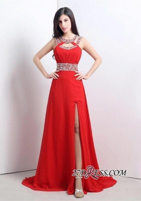 Modern Crystals A-line Front-Split Chiffon Prom Dress UK_5