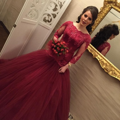 Modern Lace Red Mermaid Evening Gown | Long Sleeve Evening Dress UK_3