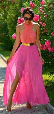 Halter Gorgeous Robe De Soiree A-line Prom Dress UKes UK Side Slit Halter evening gowns_3