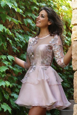 Sexy Half-Sleeve 2019 Short Homecoming Dress UK | Tulle Layers Short Party Dress UK_1