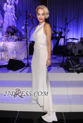 Modern A-line Halter Sleeveless White Prom Dress UK Floor-length_4