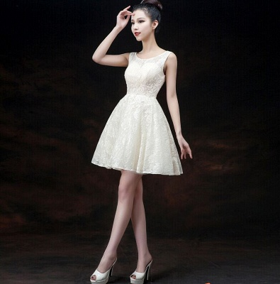 Modern Illusion Sleeveless Short Homecoming Dress UK Lace-up With Appliques_1