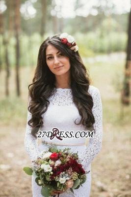 Long Fill-Lace Sleeve Sexy Mermaid Elegant Open-Back Wedding Dress_3