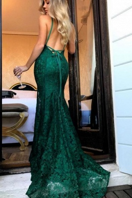 Green lace prom Dress UK, mermaid evening gowns_1