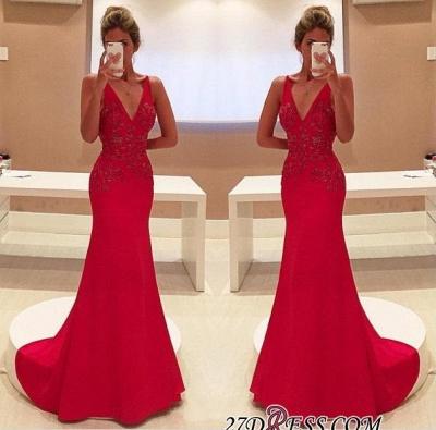 Long V-Neckline Sleeveless Appliques Red Two-Straps Prom Dress UK BA4462_1