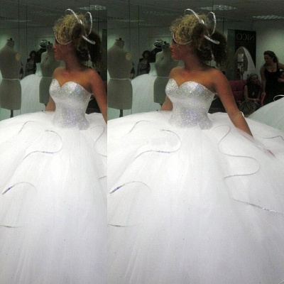 Stunning Sweetheart Ball Gown Wedding Dresses UK Sequins Tulle_3