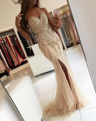 Luxury Sweetheart Evening Dress UK Mermaid Front Split With Beadings BA9009_3