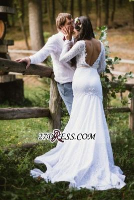 Long Fill-Lace Sleeve Sexy Mermaid Elegant Open-Back Wedding Dress_5