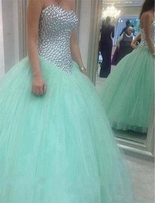 Elegant Sweetheart Mint Green Wedding Dresses UK Crystal Tulle Ball Gown Prom Gowns_1