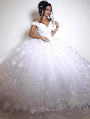 Elegant Off-the-shoulder Wedding Dress Ball Gown tulle Appliques White_1