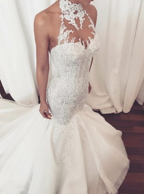 Stunning Halter Lace Wedding Dress   Sexy Mermaid 2019 Bridal Gowns On Sale_1