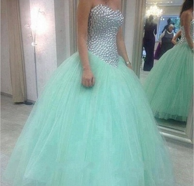 Elegant Sweetheart Mint Green Wedding Dresses UK Crystal Tulle Ball Gown Prom Gowns_3