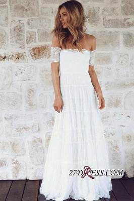 Summer Lace Short-Sleeve Elegant Long Beach Wedding Dress_3