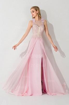 Sexy Flower Front Split Evening Dress UK Illusion Sleeveless_3