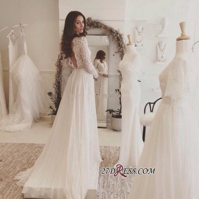 Long-Sleeves   V-neck Lace Wedding Dress BA4172_2