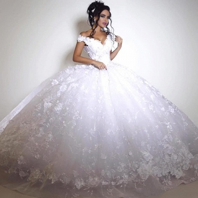 Elegant Off-the-shoulder Wedding Dress Ball Gown tulle Appliques White_3