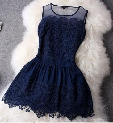 Newest Illusion Sleeveless Short Homecoming Dress UK With Lace_2