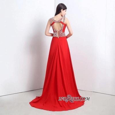 Modern Crystals A-line Front-Split Chiffon Prom Dress UK_4