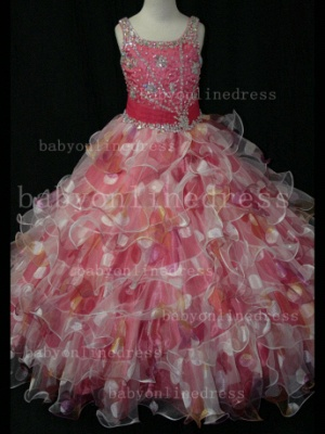 Floor-length Girls Pageant Dresses for Sale Inexpensive Colorful New Design Straps Beaded Gowns_4
