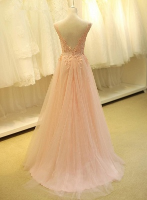 Lovely Color Cap Sleeve Tulle Prom Dress UK With Lace Appliques_3