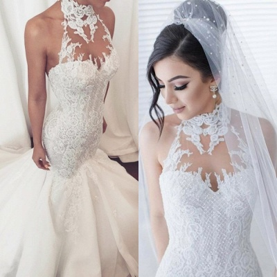 Stunning Halter Lace Wedding Dress   Sexy Mermaid 2019 Bridal Gowns On Sale_4