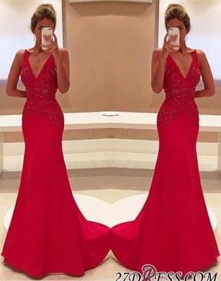 Long V-Neckline Sleeveless Appliques Red Two-Straps Prom Dress UK BA4462_2