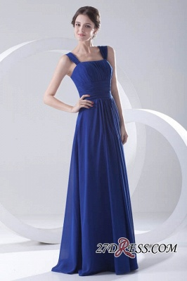 Royal-Blue Straps A-line Sleeveless Newest Ruffles Bridesmaid Dress UK_3