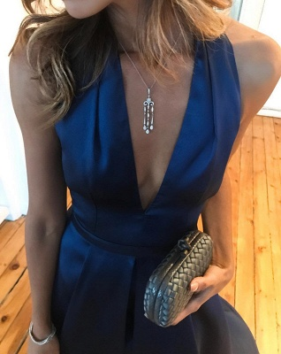 Sexy V-Neck Royal Blue Evening Dress UK On sale Hi-Lo Party Gown BA7043_4
