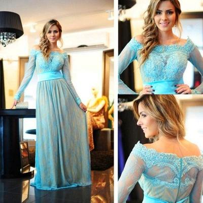 Delicate Lace Appliques Bowknot Evening Dress UK A-line Long Sleeve Zipper_3