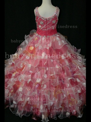 Floor-length Girls Pageant Dresses for Sale Inexpensive Colorful New Design Straps Beaded Gowns_5