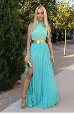 Halter Gorgeous Robe De Soiree A-line Prom Dress UKes UK Side Slit Halter evening gowns_1