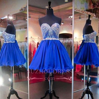 Sweetheart Mini Blue Lace-Up Crystal Homecoming Dress UKes UK BA3829_1