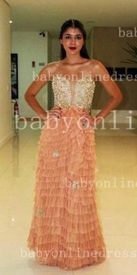 Sweetheart Prom Dress UKes UK Evening Gowns Vestidos Pearls Ruffles Floor-length Orange Golden Shining_3