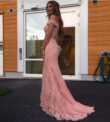 Gorgeous Off-the-Shoulder Mermaid Lace Evening Dress UK On Sale_3