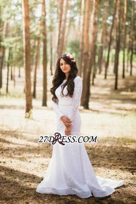 Long Fill-Lace Sleeve Sexy Mermaid Elegant Open-Back Wedding Dress_4