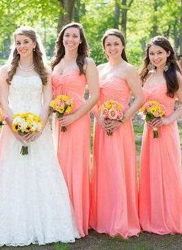 New-Arrival Simple Floor-length Ruched Strapless Bridesmaid Dress UKes UK_1